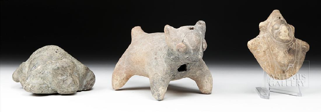 Trio of Pre-Columbian Stone and Pottery Effigies - 3