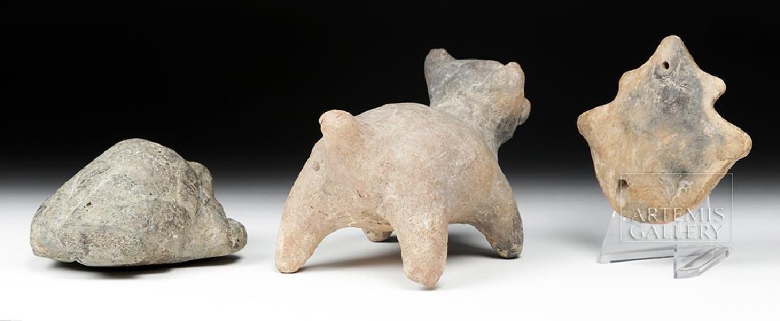 Trio of Pre-Columbian Stone and Pottery Effigies - 4