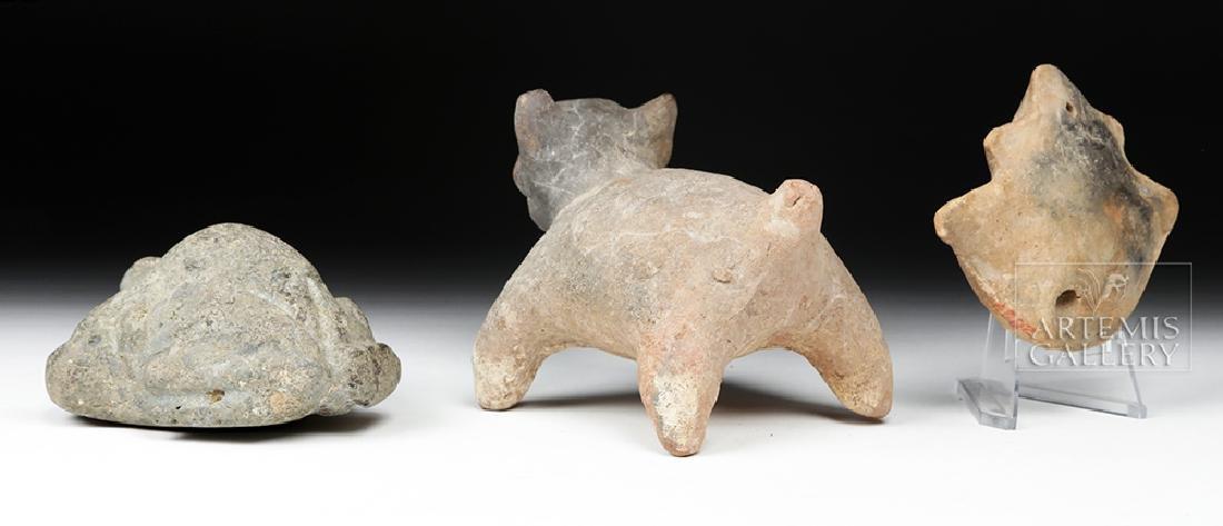 Trio of Pre-Columbian Stone and Pottery Effigies - 5