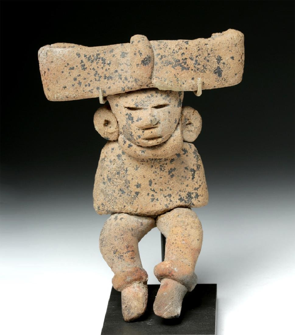 Teotihuacan Seated Pottery Human Figure, Huge Headdress