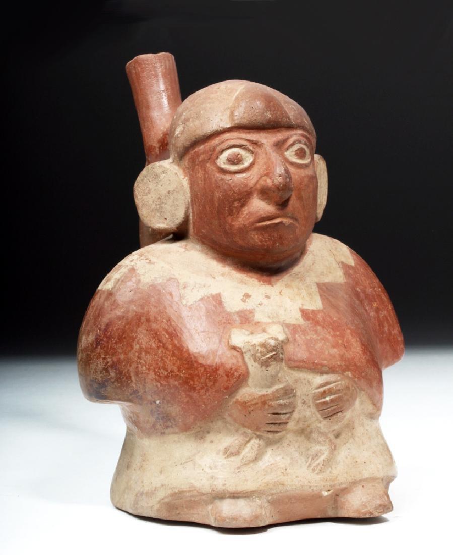 Moche Pottery Vessel - Man Holding a Small Animal