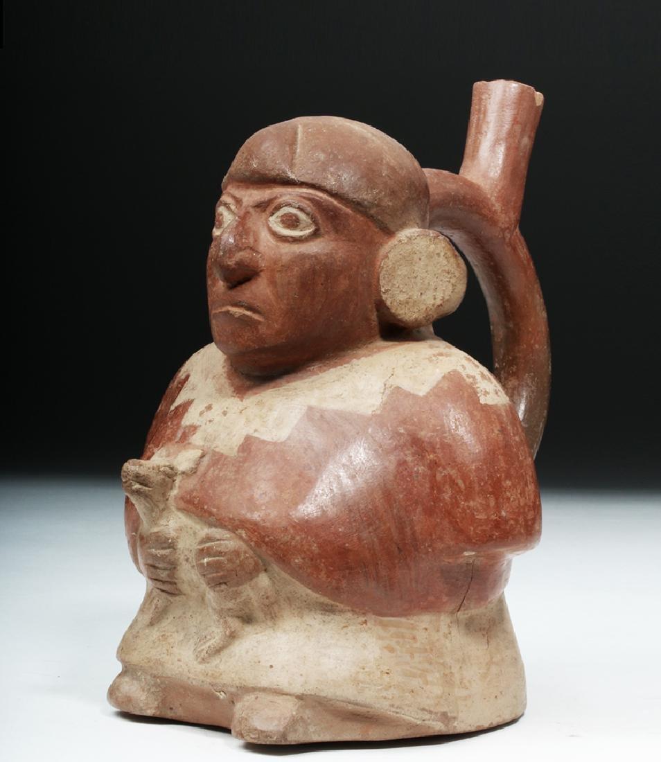 Moche Pottery Vessel - Man Holding a Small Animal - 5