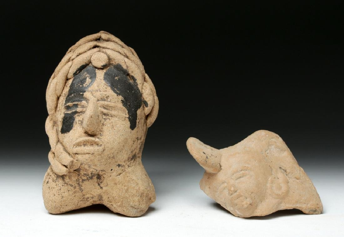 Pair of Veracruz Pottery Items - Whistle & Maskette