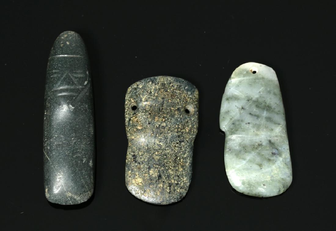 Mayan Stone Celt, Costa Rican Pendant & Olmec Duck Head