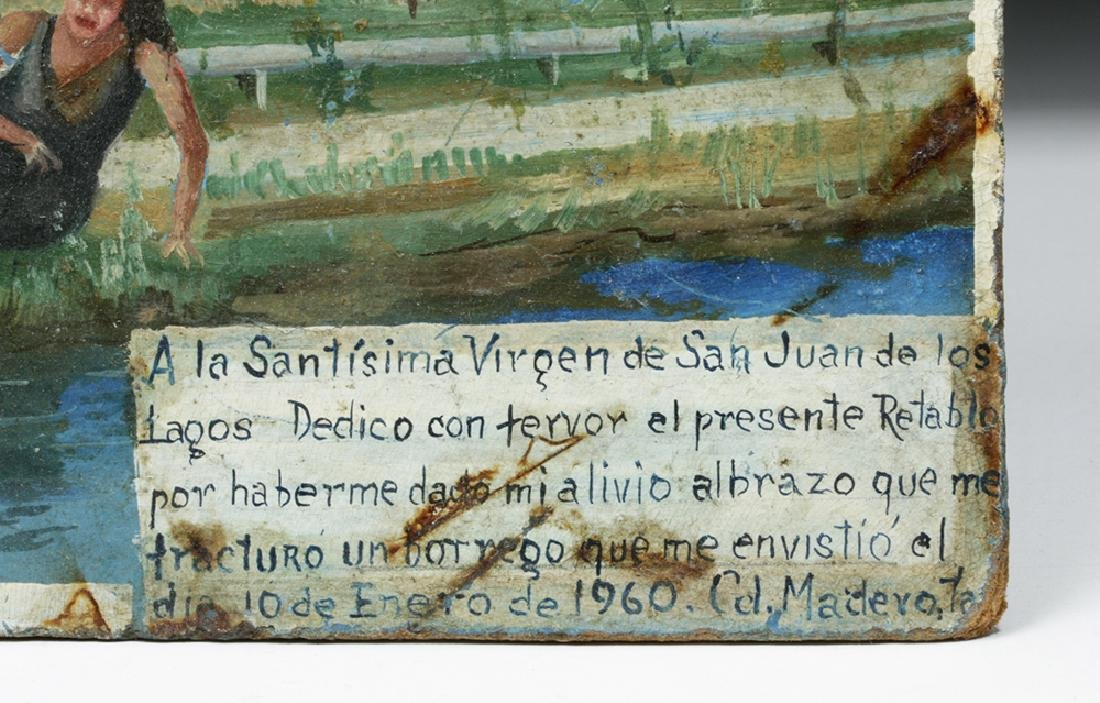 20th C. Rare Mexican Ex Voto - Paint on Board - 2