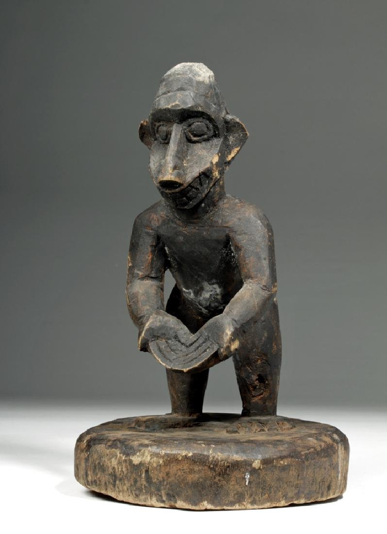 Early 20th C. African Baule Monkey Wood Figure