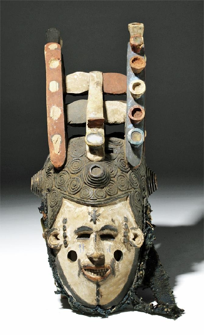Elaborate Igbo Maiden Spirit Painted Wood Helmet Mask