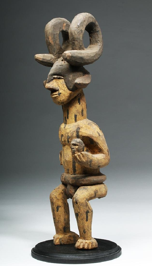 African Wood Figure of Man Wearing Antelope Horns - 4