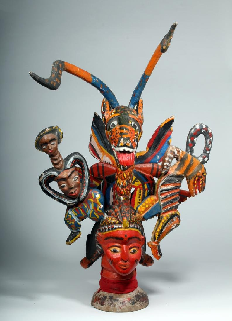 African Temne Painted Wood Ode-Lay Society Head Crest - 2