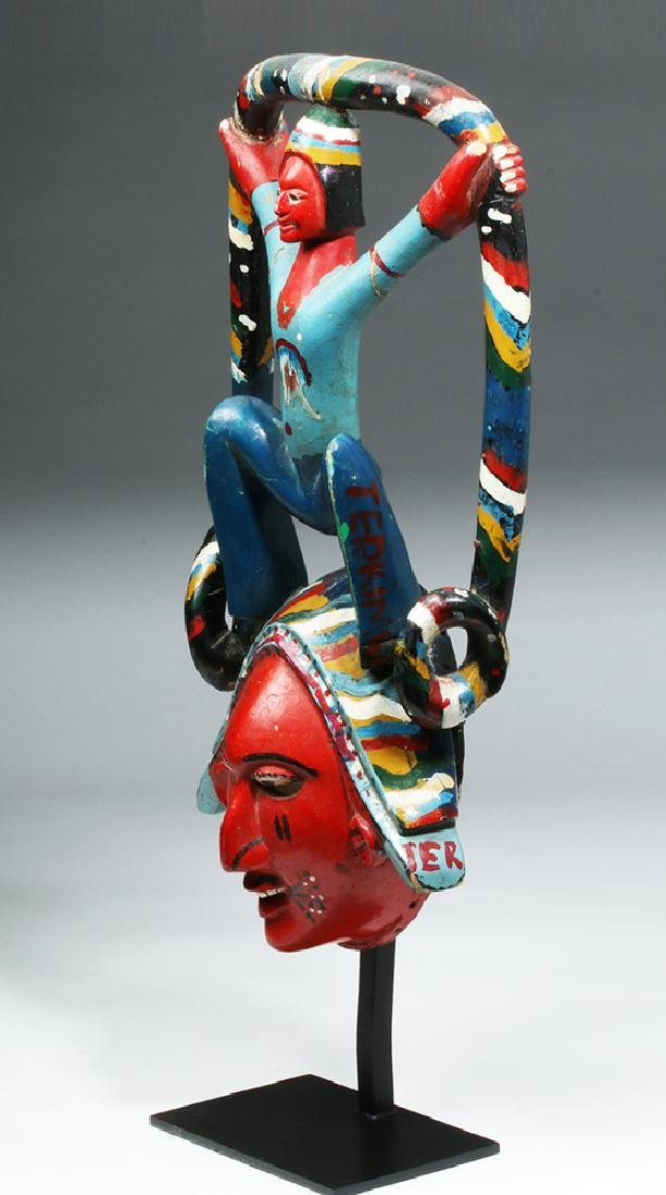 Exhibited African Ibibio Painted Wood Face Mask - 2