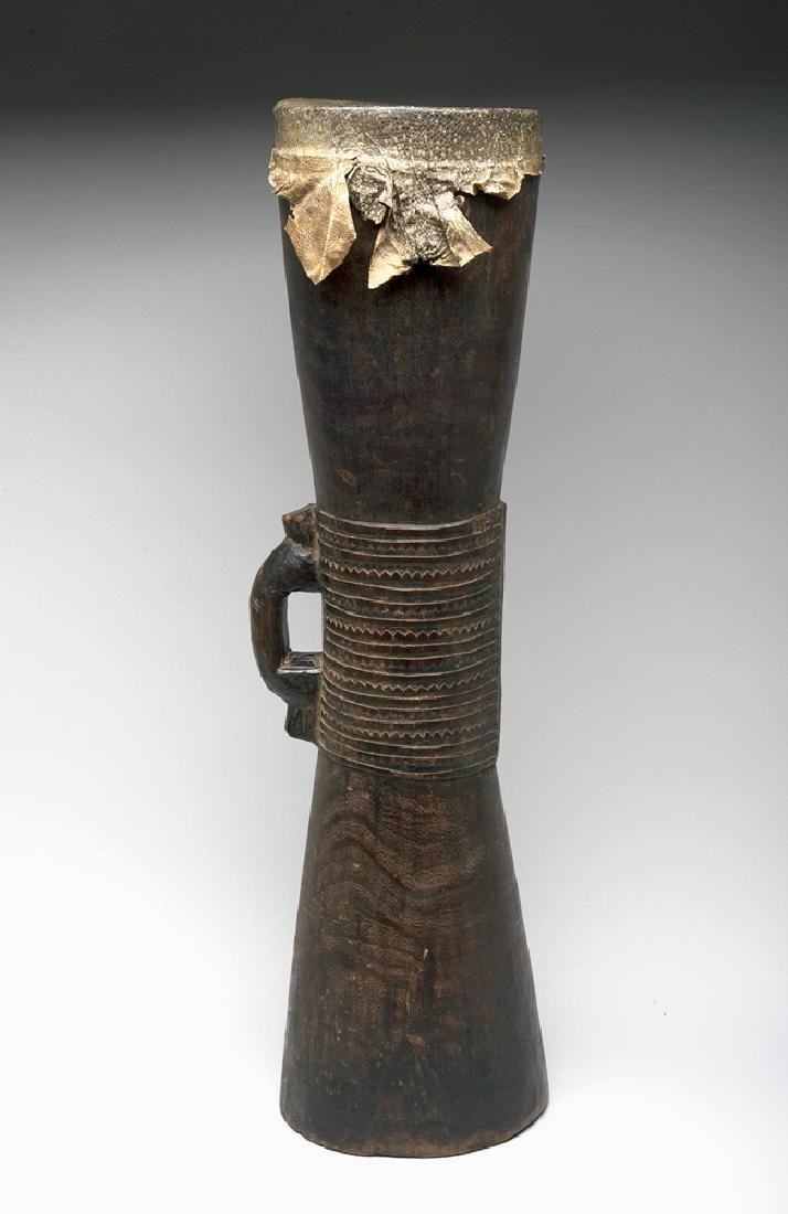 Papua New Guinea Sepik River Carved Wooden Drum