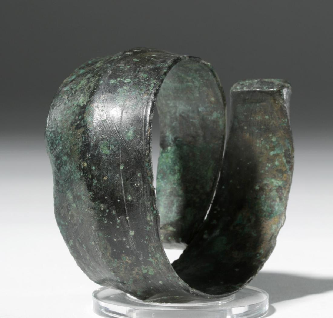 Huge Ancient Danubian Gilded Bronze Armband - 3