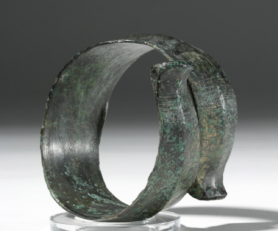 Huge Ancient Danubian Gilded Bronze Armband - 4