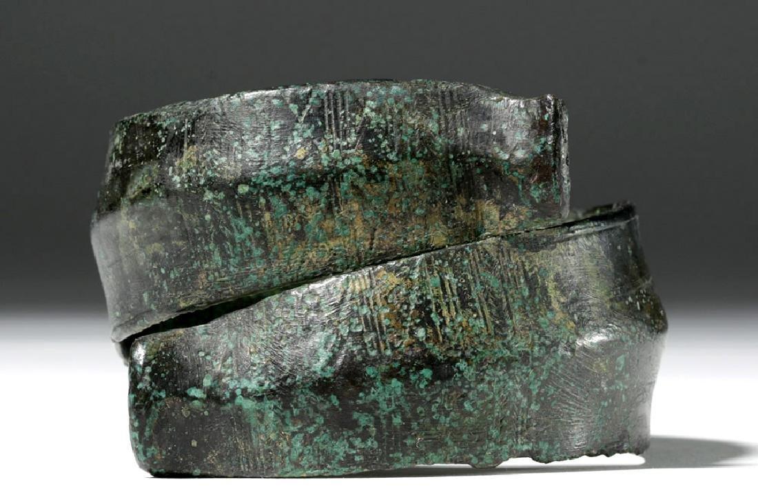 Huge Ancient Danubian Gilded Bronze Armband - 5