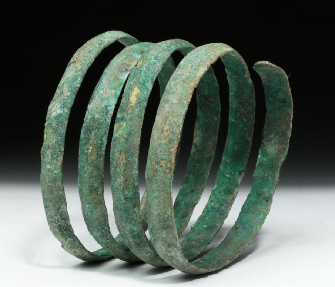 Hallstatt Bronze Coiled Bracelet - Lovely Patina - 2