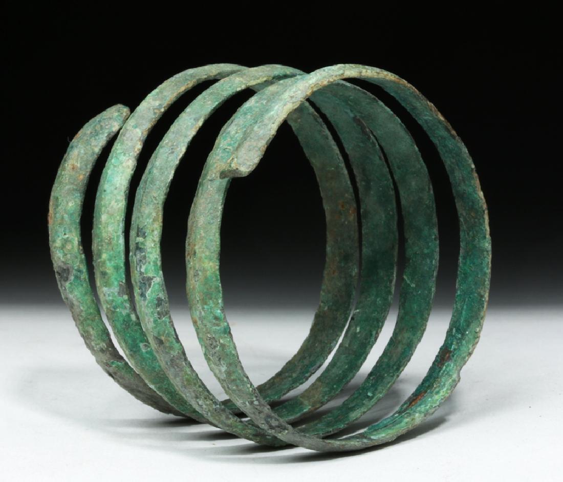 Hallstatt Bronze Coiled Bracelet - Lovely Patina - 4