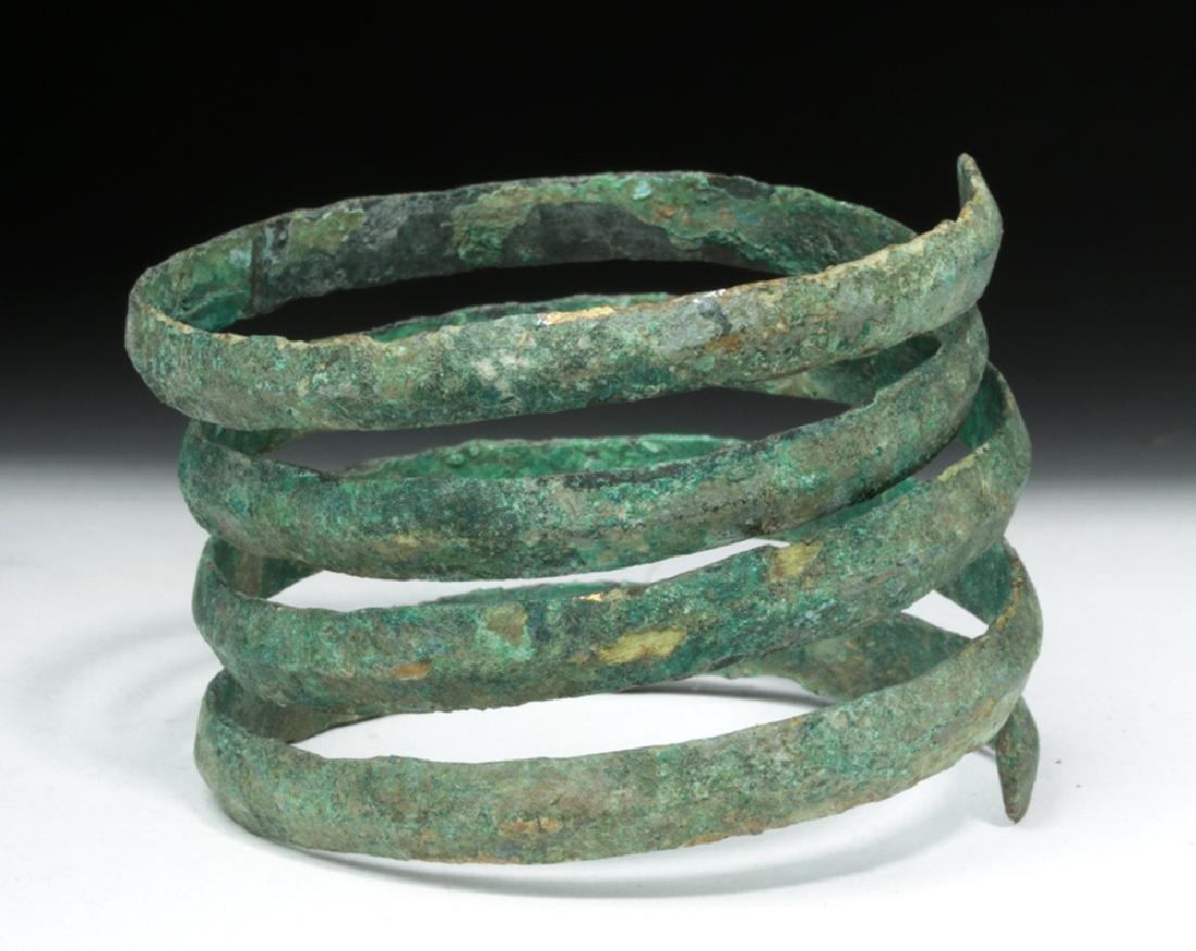 Hallstatt Bronze Coiled Bracelet - Lovely Patina - 6