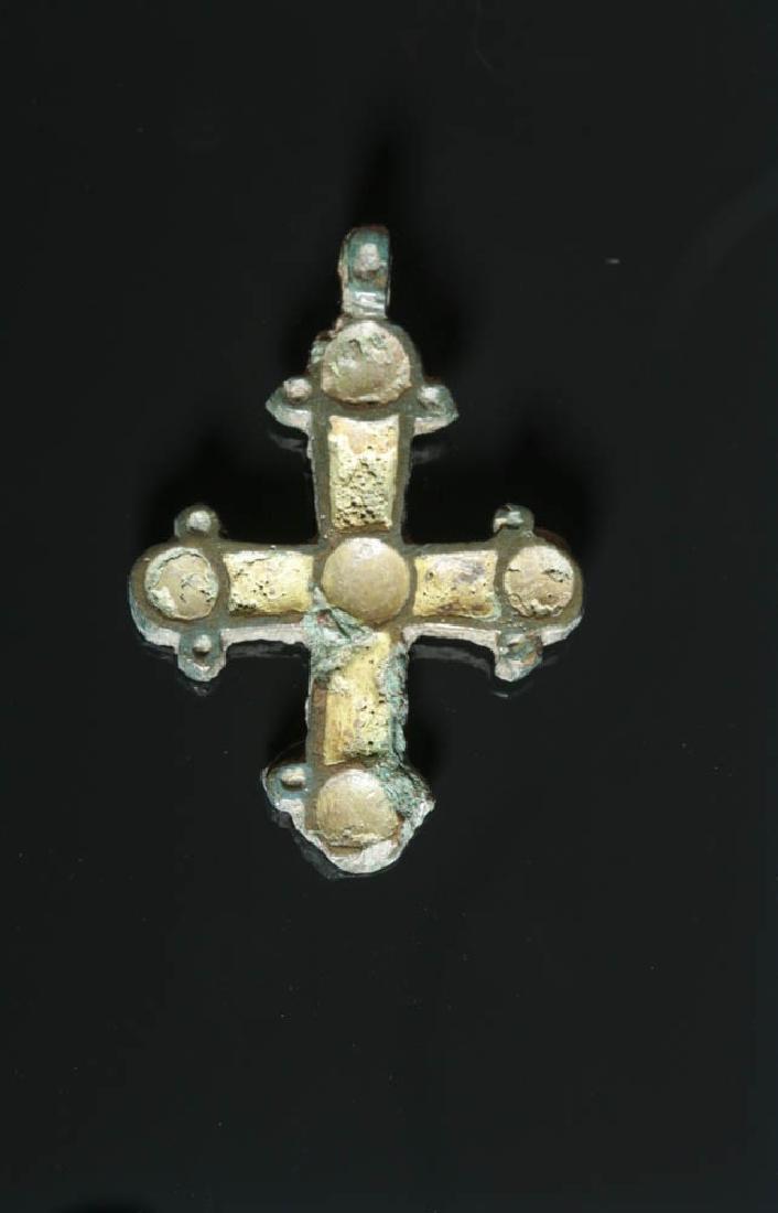 Viking Bronze Enameled Cross - Incised Cross Designs