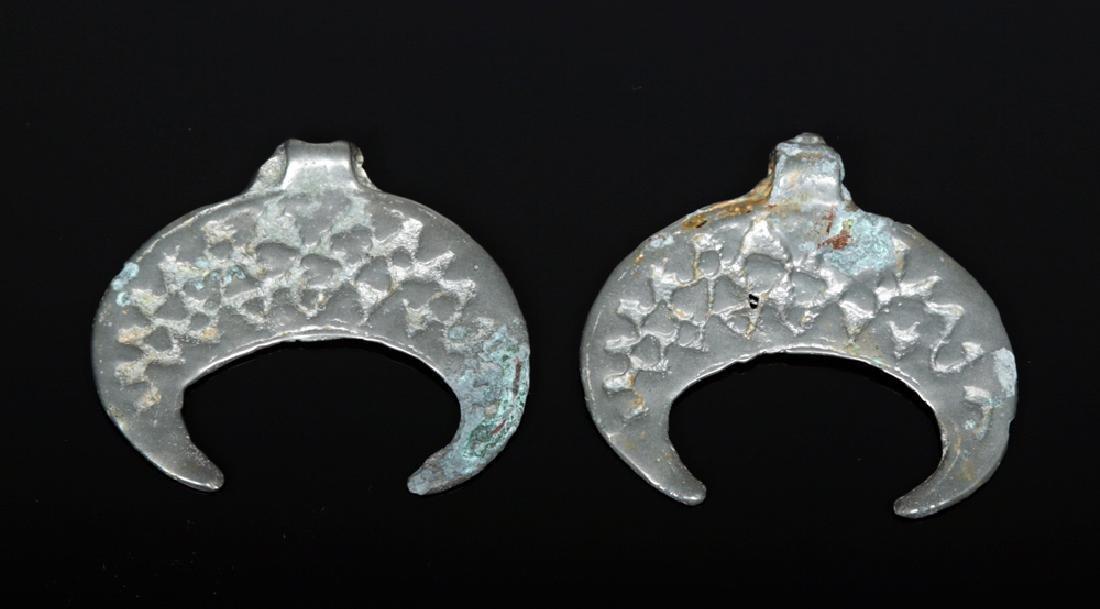 Pair Russian Viking White Bronze Lunate Pendants