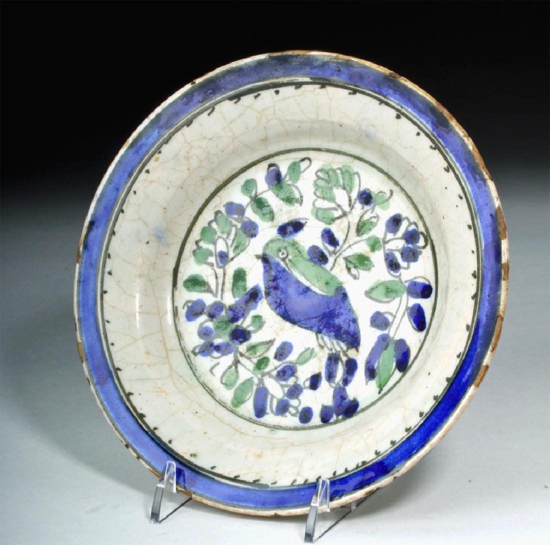 18th C. Spanish Majolica Plate w/ Bird