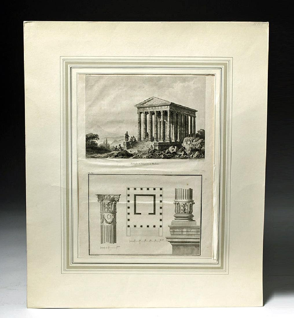 18th C French Etchings - Temple in Mylasa (Milas)