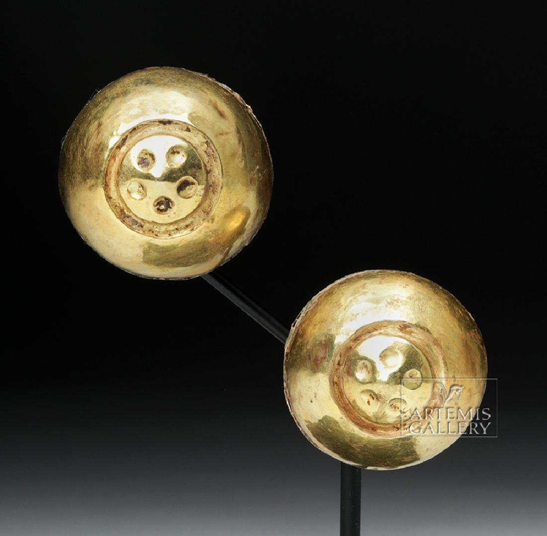 Moche 18K+ Gold Ear Ornaments, Flower Motifs - XRF'd