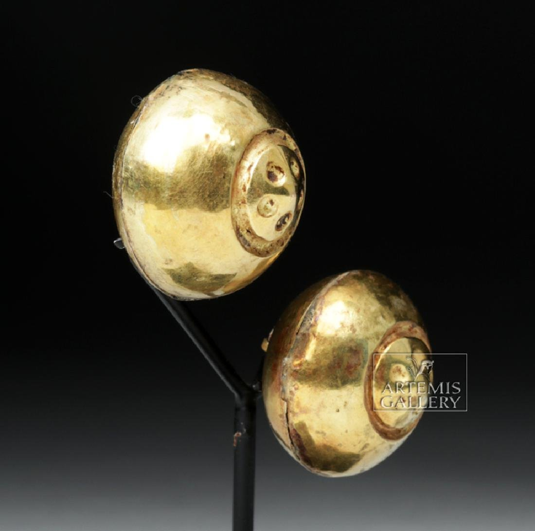 Moche 18K+ Gold Ear Ornaments, Flower Motifs - XRF'd - 3