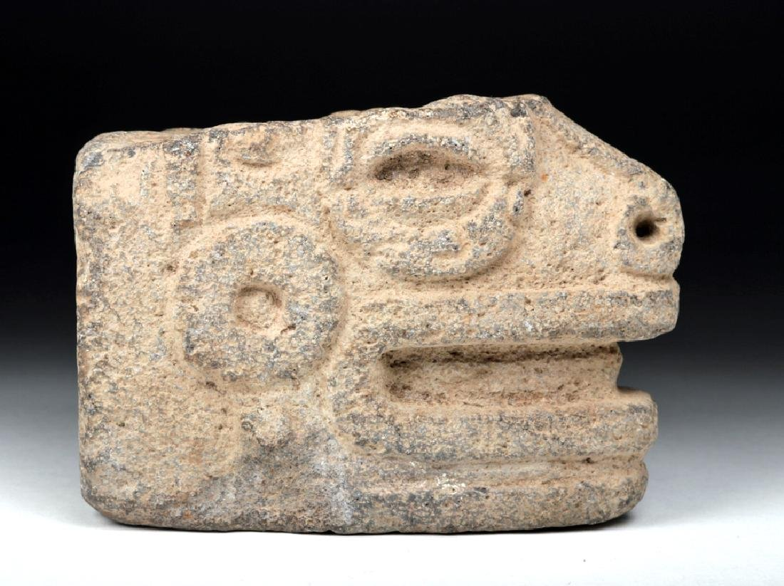 Mayan Stone Hacha Fragment - Head of Snake
