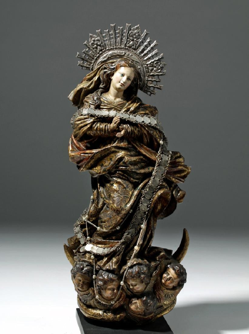 19th C. Mexican Wooden Santo - Mary on Crescent Moon