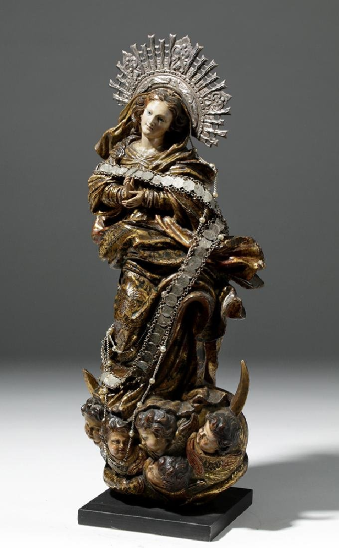 19th C. Mexican Wooden Santo - Mary on Crescent Moon - 7