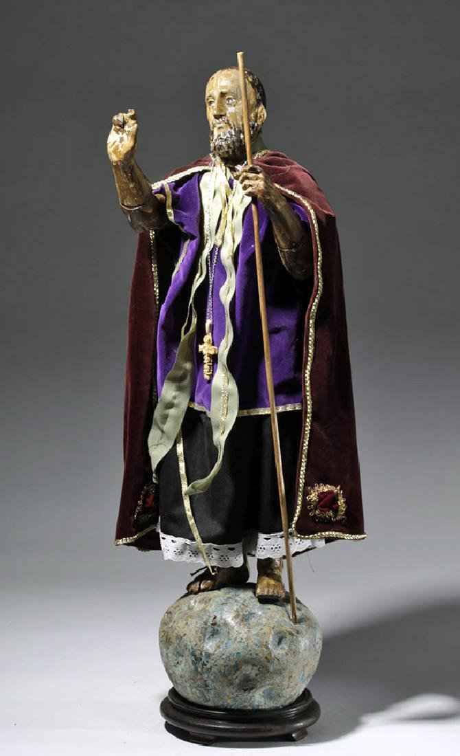 19th C. Mexico Wood Santo - Christ Blessing