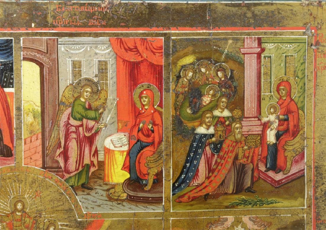 Early 19th C. Russian Icon - Resurrection & Feasts - 3