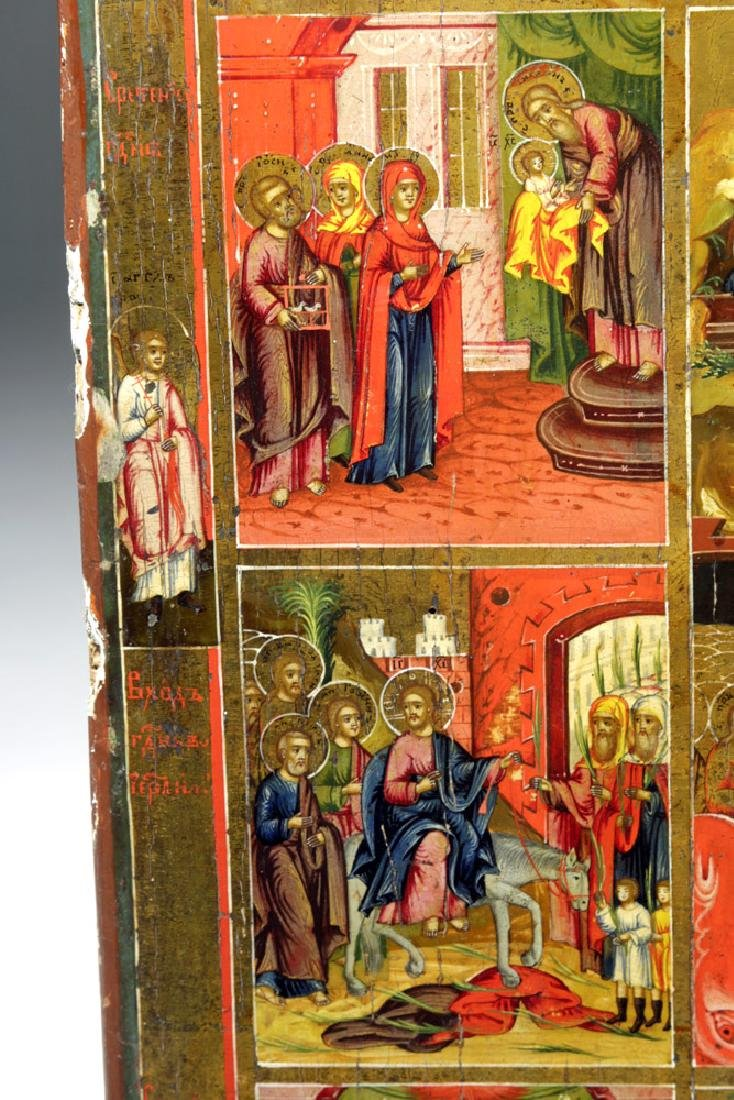 Early 19th C. Russian Icon - Resurrection & Feasts - 4