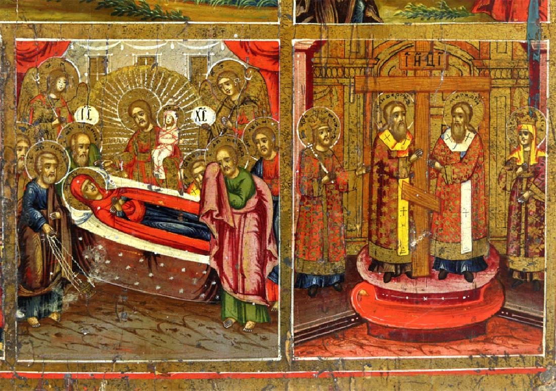 Early 19th C. Russian Icon - Resurrection & Feasts - 6