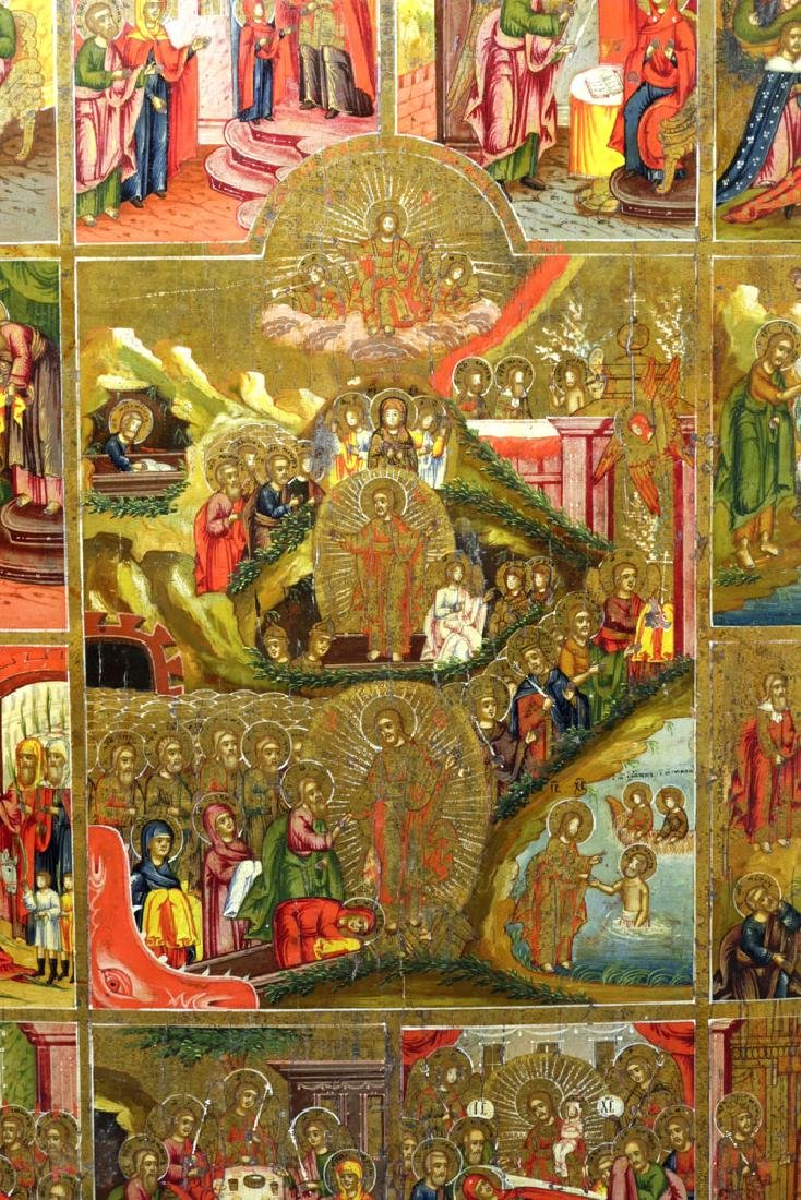 Early 19th C. Russian Icon - Resurrection & Feasts - 8