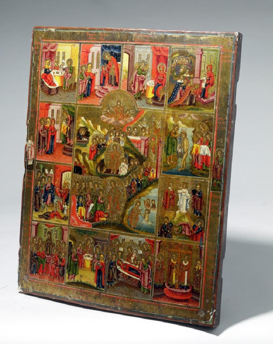 Early 19th C. Russian Icon - Resurrection & Feasts - 9