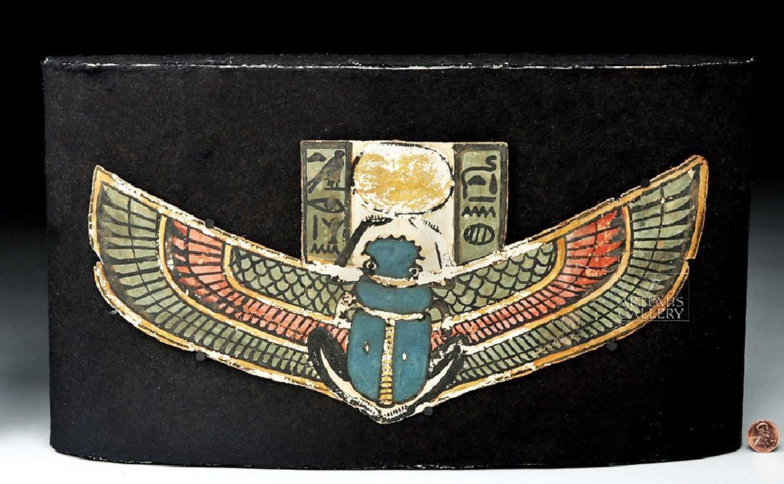 Egyptian Late Dynastic Cartonnage Section w/ Scarab