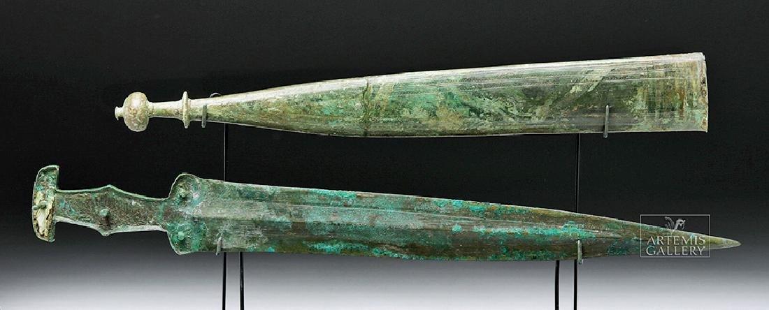 Important Etruscan Bronze Sword & Sheath, ex-Guttmann - 2