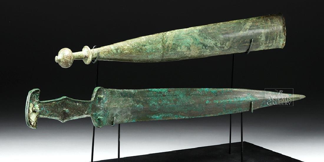 Important Etruscan Bronze Sword & Sheath, ex-Guttmann - 4