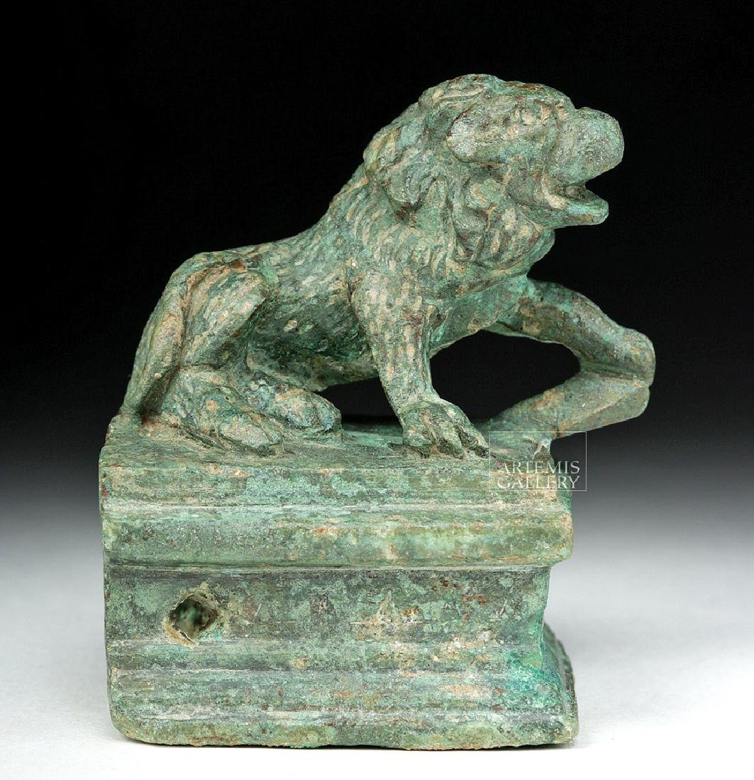 Roman Bronze Recumbent Lion on Plinth