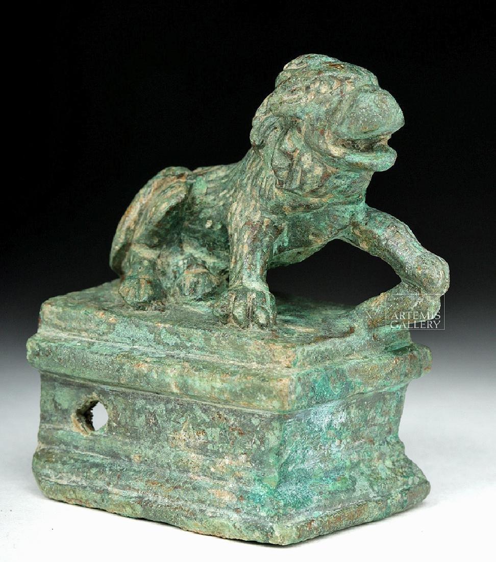 Roman Bronze Recumbent Lion on Plinth - 2