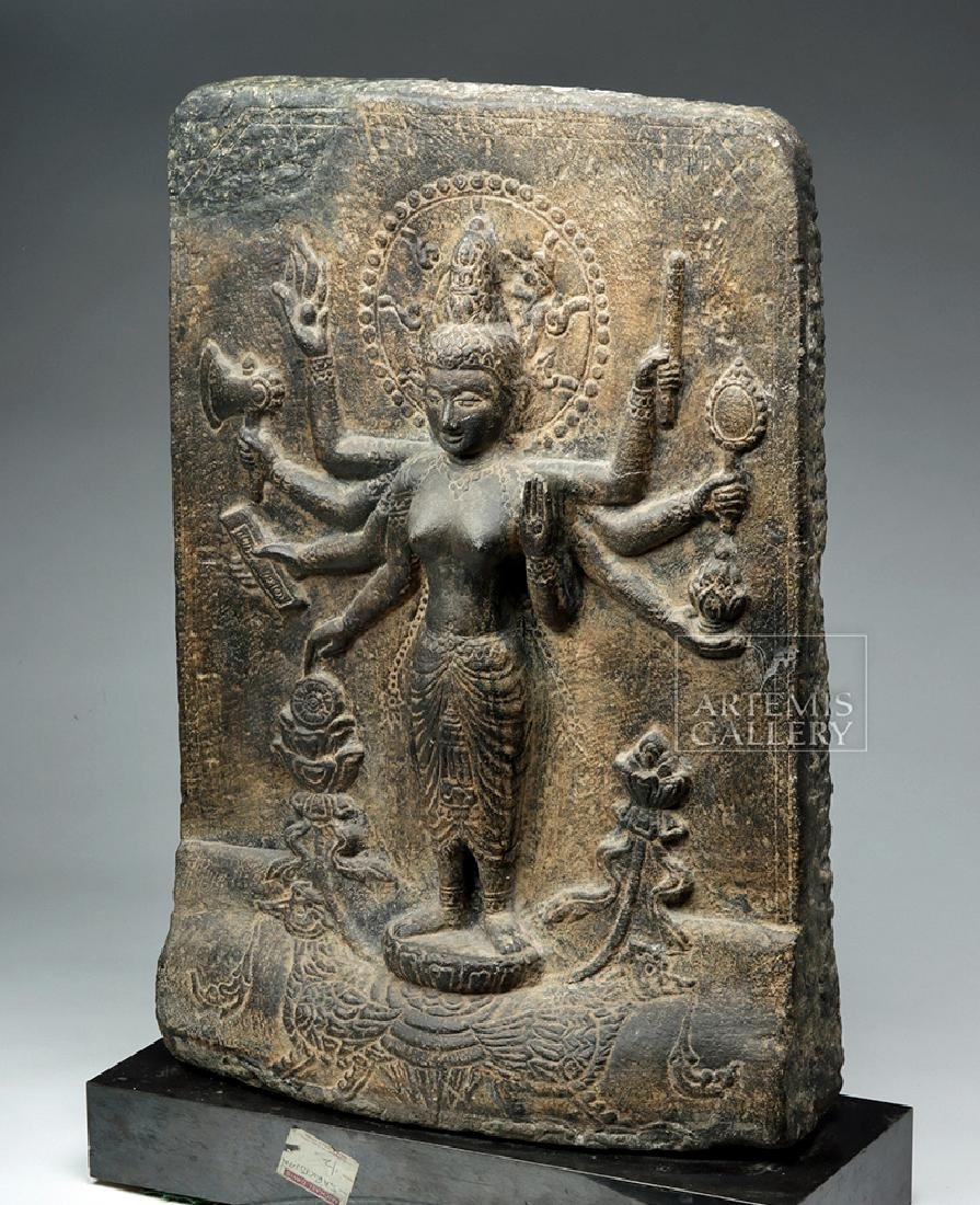 12th C. Indian Black Stone Stele - Parvati w/ Peahen - 2