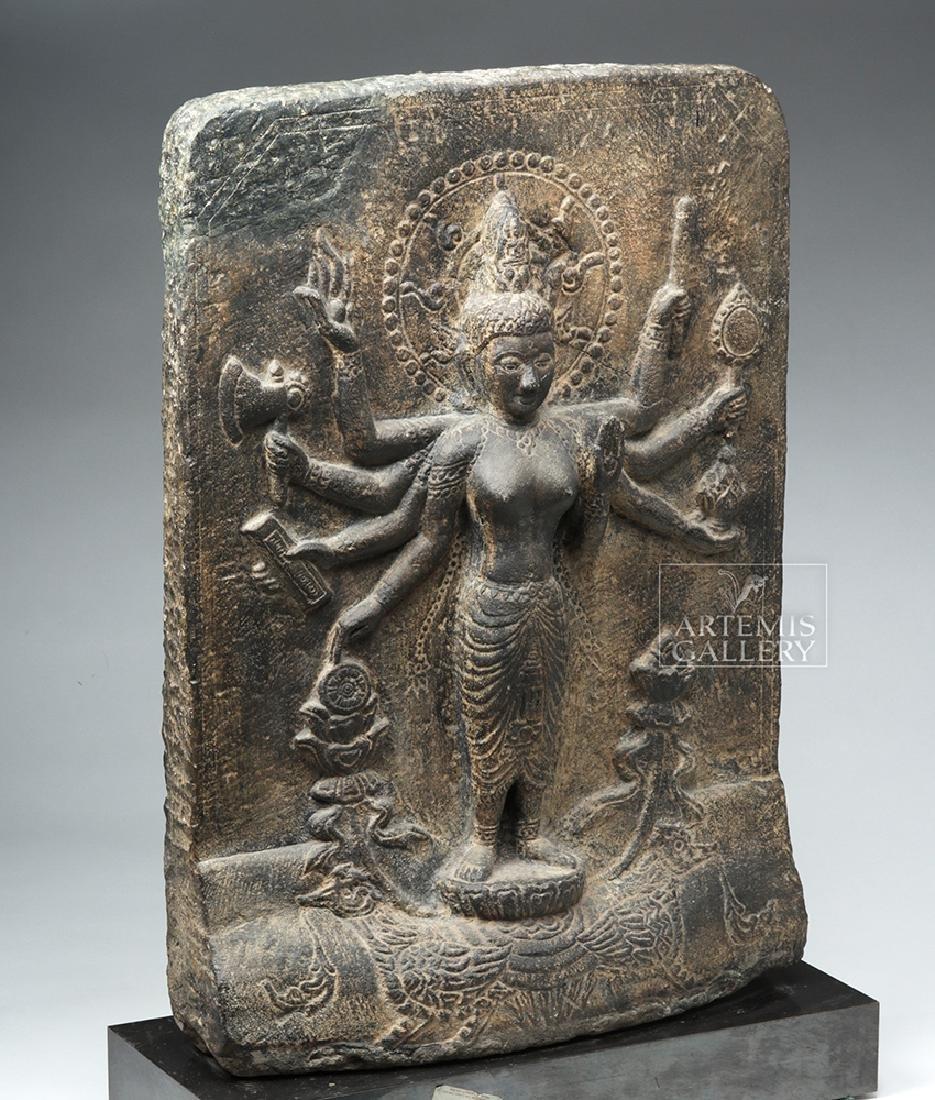 12th C. Indian Black Stone Stele - Parvati w/ Peahen - 4