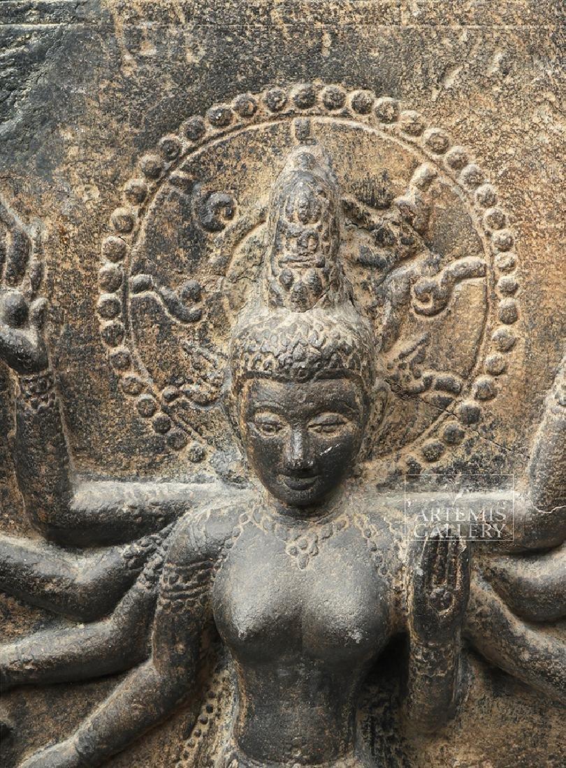 12th C. Indian Black Stone Stele - Parvati w/ Peahen - 7