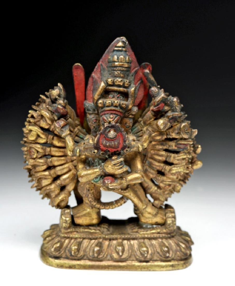 18th C. Sino-Tibetan Gilt Bronze Yamantaka God