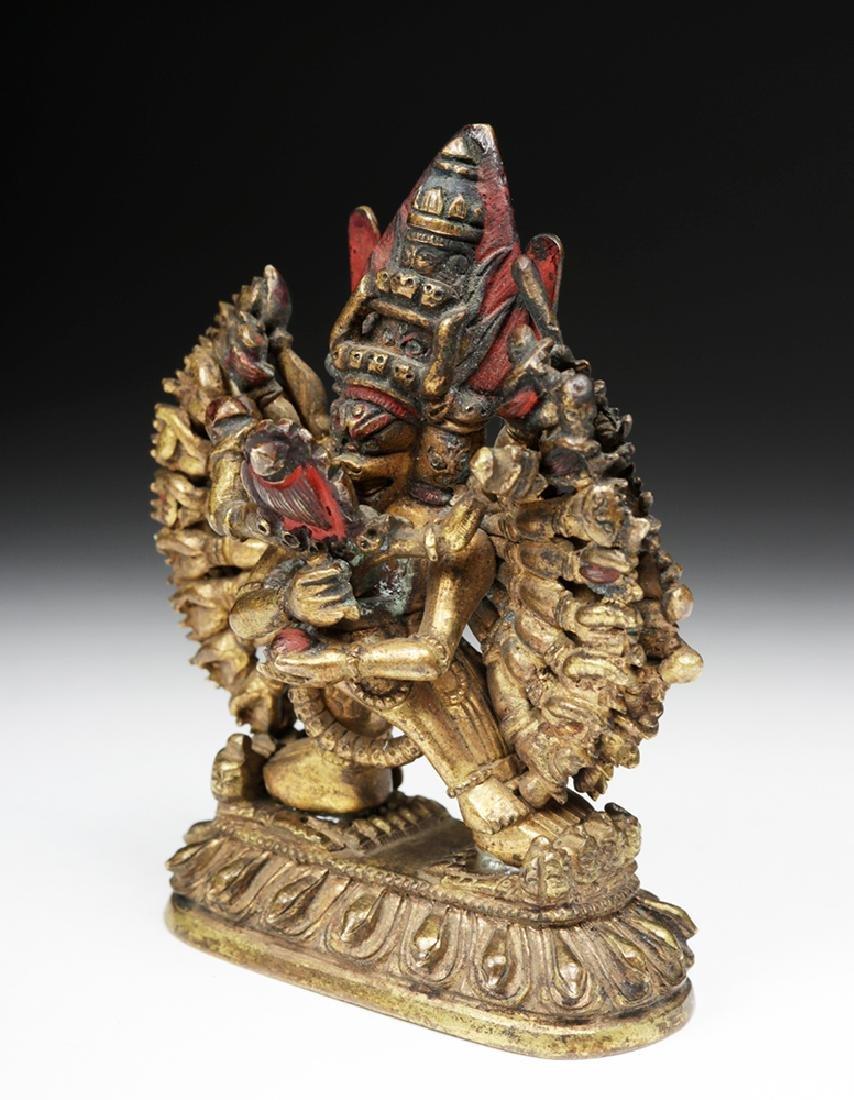 18th C. Sino-Tibetan Gilt Bronze Yamantaka God - 5