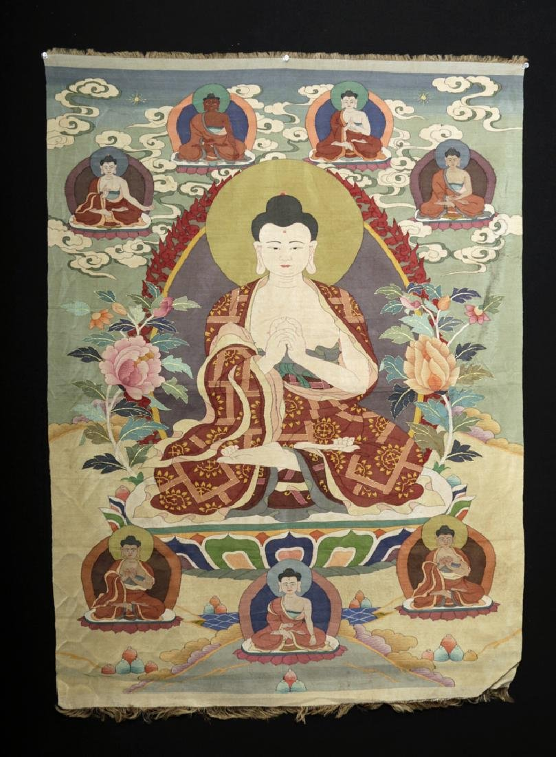 19th C. Chinese Silk Kesi-Stitch Thangka - Sakyamuni
