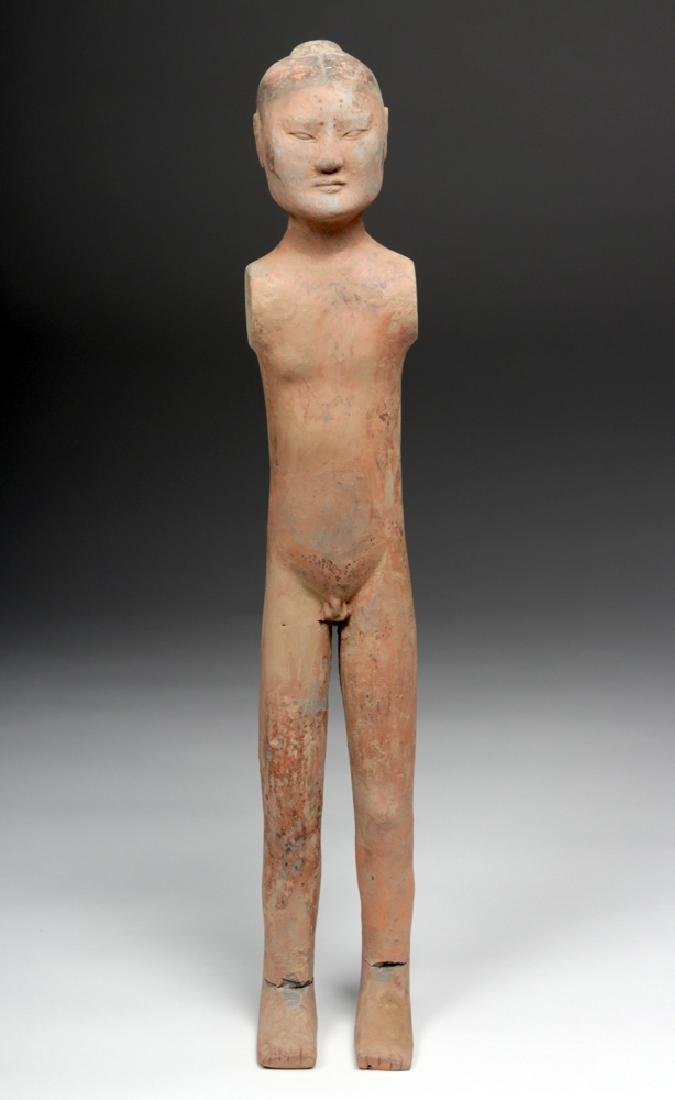 Tall Chinese Han Dynasty Pottery Stick Figure