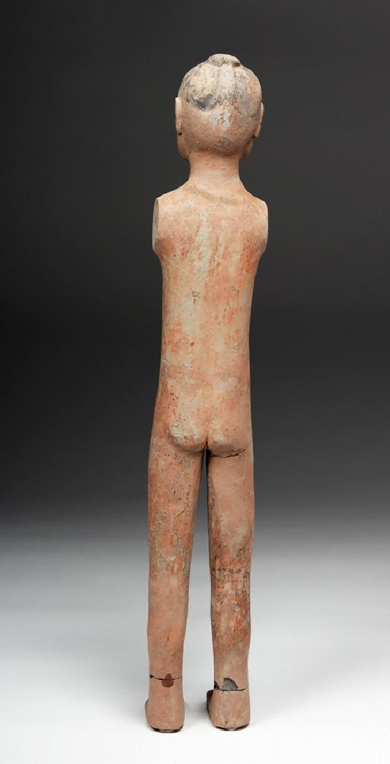 Tall Chinese Han Dynasty Pottery Stick Figure - 4