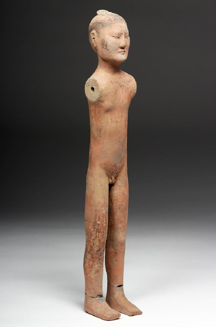 Tall Chinese Han Dynasty Pottery Stick Figure - 7